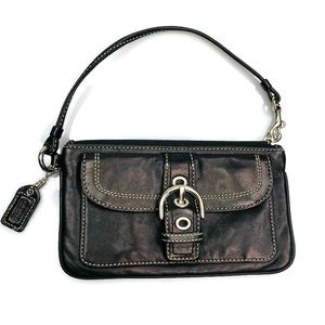 Coach | Soho Leather Wallet Wristlet Black Buckle